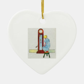 Hickory, dickory, dock! The mouse ran up the clock Double-Sided Heart Ceramic Christmas Ornament