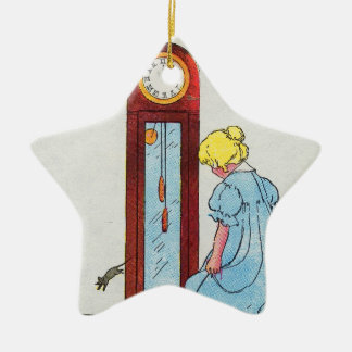Hickory, dickory, dock! The mouse ran up the clock Double-Sided Star Ceramic Christmas Ornament
