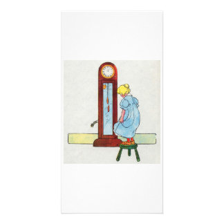 Hickory, dickory, dock! The mouse ran up the clock Photo Card
