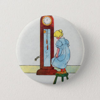 Hickory, dickory, dock! The mouse ran up the clock Pinback Button