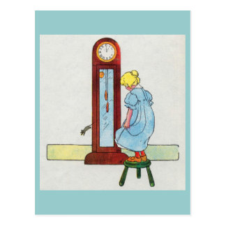 Hickory, dickory, dock! The mouse ran up the clock Postcard