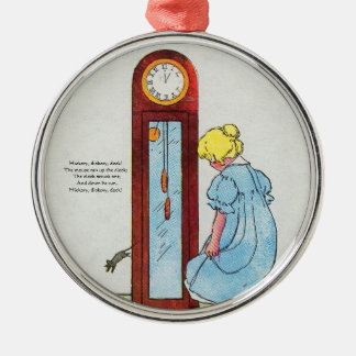 Hickory, dickory, dock! The mouse ran up the clock Round Metal Christmas Ornament
