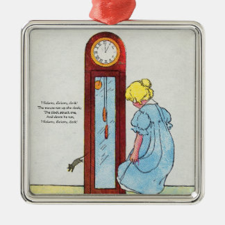 Hickory, dickory, dock! The mouse ran up the clock Square Metal Christmas Ornament