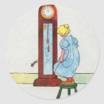Hickory, dickory, dock! The mouse ran up the clock Classic Round Sticker