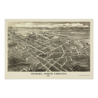 Hickory, NC Panoramic Map - 1907 Poster