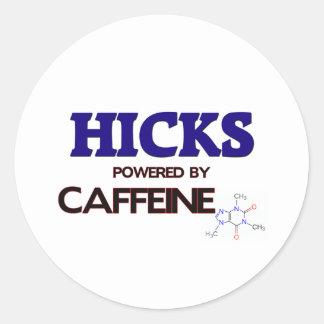 Hicks powered by caffeine round stickers