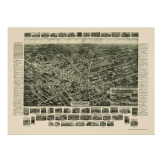 Hicksville, NY Panoramic Map - 1925 Poster
