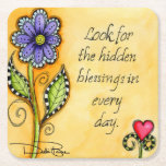 "Hidden Blessings Square Paper Coaster<br><div class=""desc"">&quot;Hidden Blessings&quot; is a watercolor painting created by Debi Payne featuring a whimsical violet color flower accented with black and white checkerboard over a golden background. The flower is featuring the inspirational text saying, &quot;Look for the hidden blessing in every day.&quot; This colorful design was created by Debi Payne Designs....</div>"