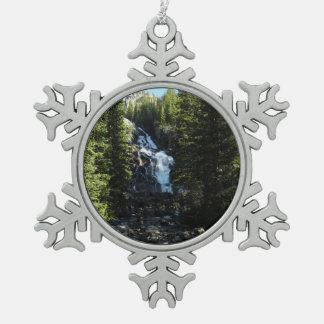 Hidden Falls in Grand Teton National Park Snowflake Pewter Christmas Ornament