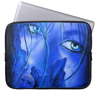 HIDDEN FEAR BLUE GIRL WITH SKULL LAPTOP SLEEVES