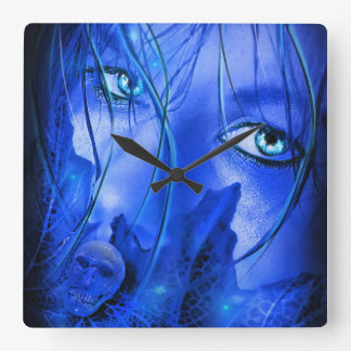 HIDDEN FEAR BLUE GIRL WITH SKULL SQUARE WALL CLOCK