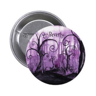 Hidden Hearts Trees Purple Fantasy Art Your Name Button
