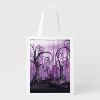 Hidden Hearts Trees Surreal Fantasy Landscape Art Grocery Bag
