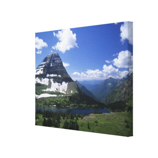 Hidden Lake, alpine meadows, rock strata, and timb Gallery Wrapped Canvas
