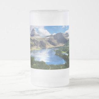 Hidden Lake in Glacier National Park Frosted Glass Beer Mug