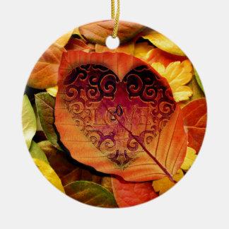 Hidden Love for Fall Ceramic Ornament