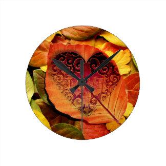 Hidden Love for Fall Round Clock