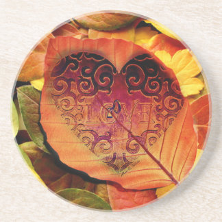 Hidden Love for Fall Sandstone Coaster