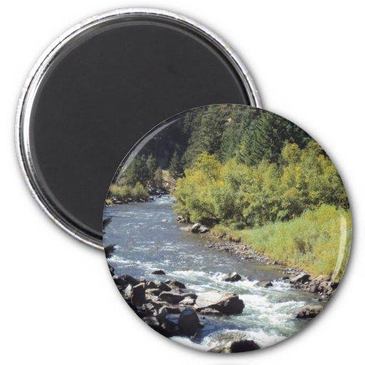 Hidden Mountain River 2 Inch Round Magnet