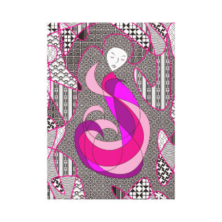 Hidden Passion Woman Pink Hair Abstract Geometric Stretched Canvas Prints