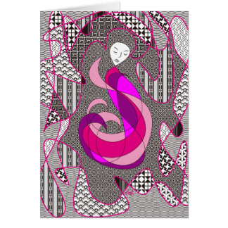 Hidden Passion Woman Pink Hair Abstract Geometric Greeting Card