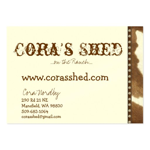 hide and nails, Cora's Shed, ...on the Ranch...... Business Card Template