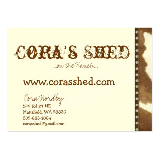 hide and nails, Cora's Shed, ...on the Ranch...... Large Business Card