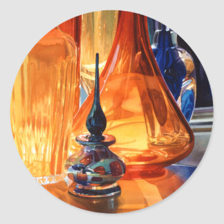 """""""Hide and Seek"""" Art Glass Watercolor Classic Round Sticker"""
