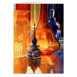 """Hide and Seek"" Art Glass Watercolor Greeting Card"