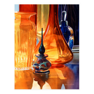 """Hide and Seek"" Art Glass Watercolor Postcard"