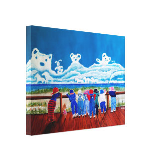 Hide and Seek Beach Art Childrens Canvas Painting