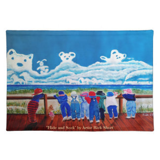 Hide and Seek Children at the beach American MoJo  Placemat