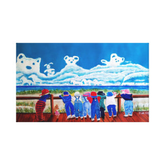 Hide and Seek Children playing at the beach art Canvas Print