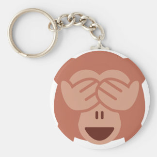 Hide and seek Emoji Monkey Llavero Redondo Tipo Pin