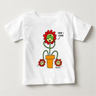 Hide and Seek Flower Cartoon Twins Theme Gardener Baby T-Shirt