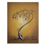 Hide and Seek Whimsical Creeper Art Postcard