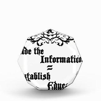 Hide The Information Establish Education Acrylic Award