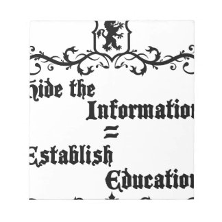 Hide The Information Establish Education Notepad