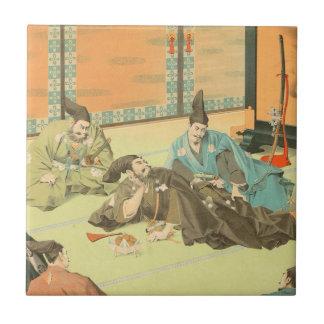 Hideyoshis Patience vintage japanese samurai art Ceramic Tile