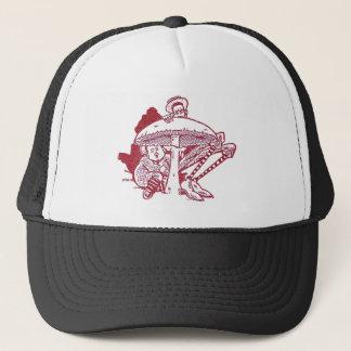 Hiding Behind a Giant Mushroom Trucker Hat