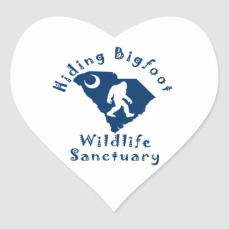 Hiding Bigfoot Wildlife Sanctuary Heart Stickers