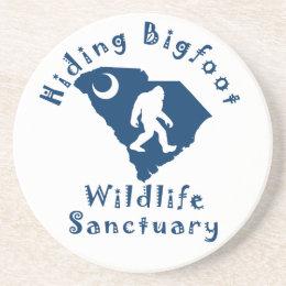Hiding Bigfoot Wildlife Sanctuary Sandstone Coaster