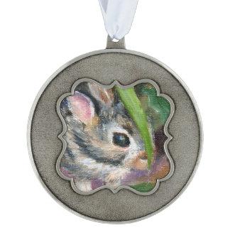Hiding Bunny aceo Scalloped Ornament