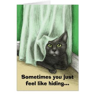 Hiding Cat Caring Card