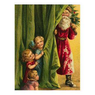 Hiding From Santa Red Coat Children Tree Postcard