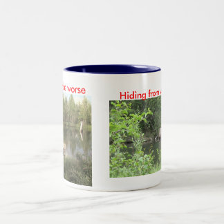 Hiding from your troubles Two-Tone coffee mug
