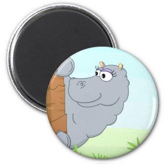 Hiding hippo 2 inch round magnet