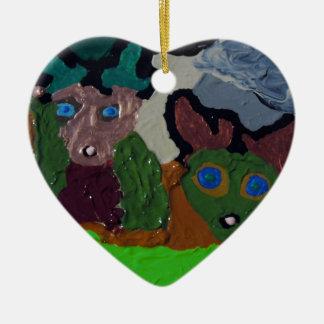 HIDING in PLAIN SIGHT Double-Sided Heart Ceramic Christmas Ornament