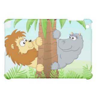 Hiding lion and hippo case for the iPad mini