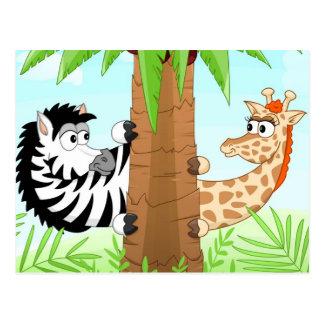 Hiding zebra and giraffe postcard